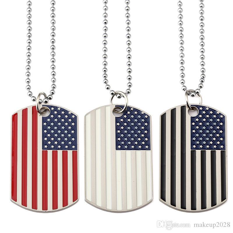 جديد مطلية بالذهب الفولاذ المقاوم للصدأ عسكرية للجيش العلامات العصرية USA رمز العلم الأميركي المعلقات القلائد للرجال / نساء مجوهرات 375