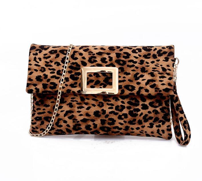 Women Suede Leopard print Large Capacity Metal Hasp Envelope Flap Pocket Shoulder Chain Bag