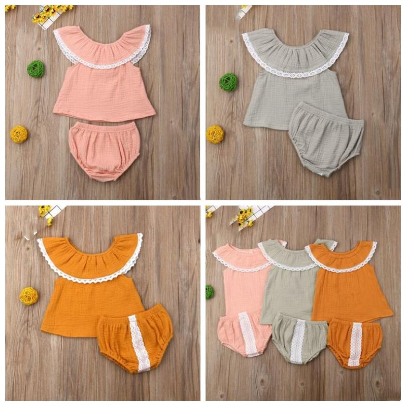 Kids Designer Clothes Sets Girls Summer One-shouldered Tops Briefs Suits Baby Ruffled Lace Blouse Short Outfits Child Clothing Sets ZYQA457