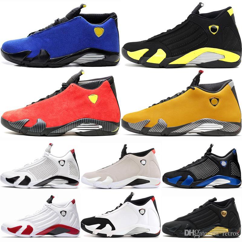 Pas cher 14 14s thunder blue Mens Chaussures de basketball hommes black toe canne en bonbon définissant les moments du sable du désert Last Shot Varsity Roya Sports Sneakers