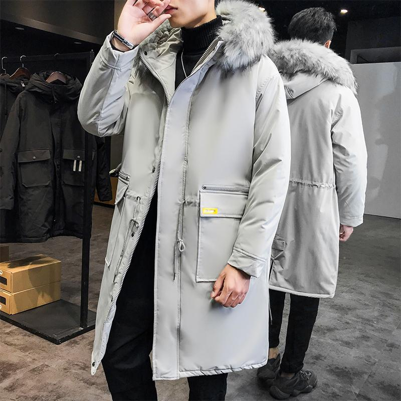 Parka Men 2019 New Winter Men Fur Hooded Jacket Male Clothes Long Jacket Coat Solid Color Parkas Cotton-padded Youth Clothing
