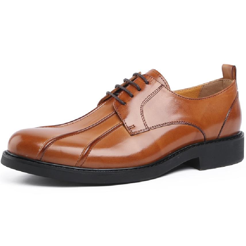 New Black / Brown Round Toe Boys Dress Shoes Genuine Leather Prom Shoes Male Wedding Shoes