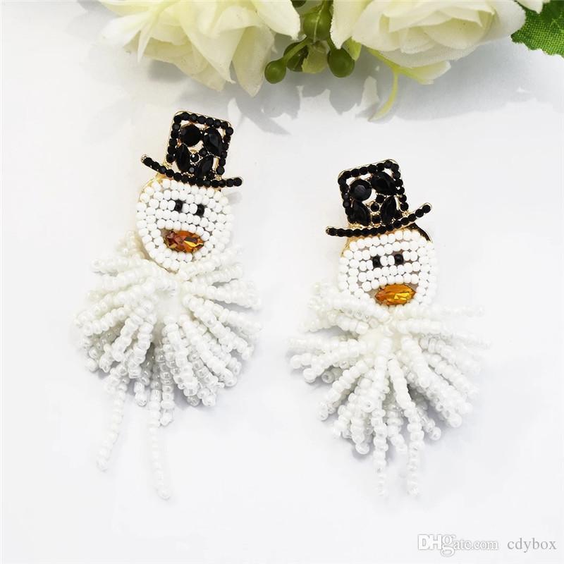 Gioielli regalo delle donne Dichiarazione DHL libero regalo di Natale in rilievo lunghi orecchini di goccia del pupazzo di neve ORECCHINI Per