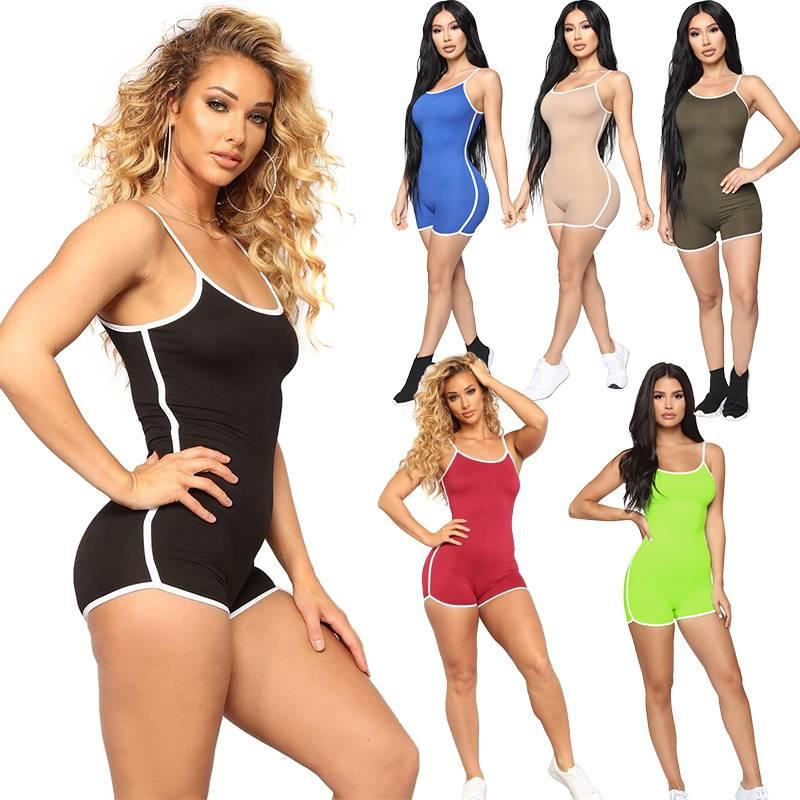 2020 женщин лето Bodycon Bodysuit ползунков сексуальных женщин сплошного цвета недоуздок комбинезон шорты без рукавов один кусок одежды S-легкого костюм с шортами 4XL