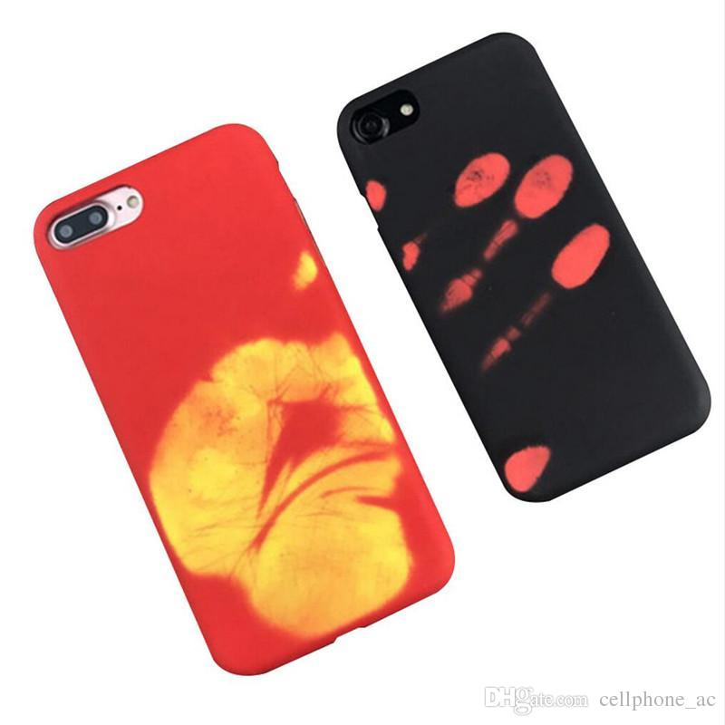 Thermosensitive Color change Case Magical PU Fingerprint Back Cover Temperature Sensing Thermal Sensor Heat Shell For Iphone 6 7 8plus X XS