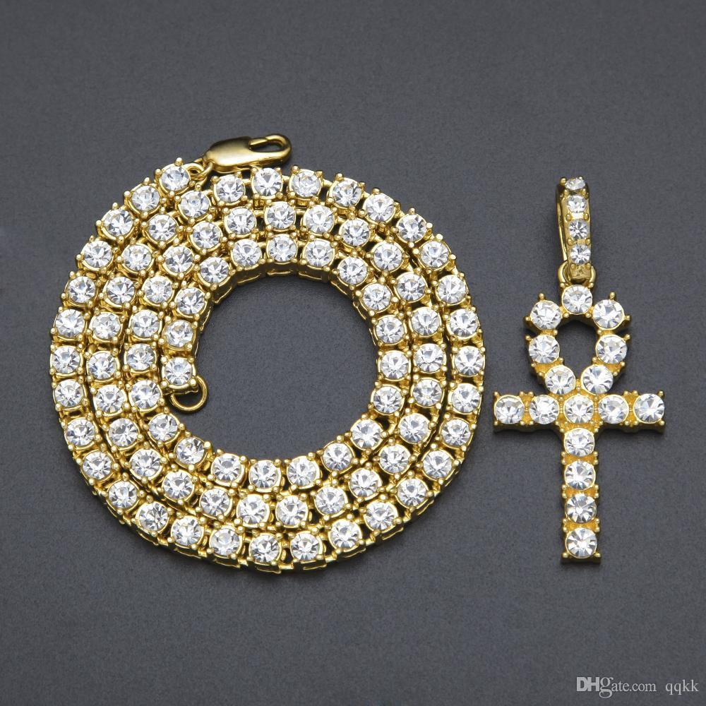 Homens Bling para fora congelado egípcio Ankh Key colar de ouro pingente banhado Hip Hop Black Crystal cubana Chain Link 24in Homens Jóias 5,5 milímetros