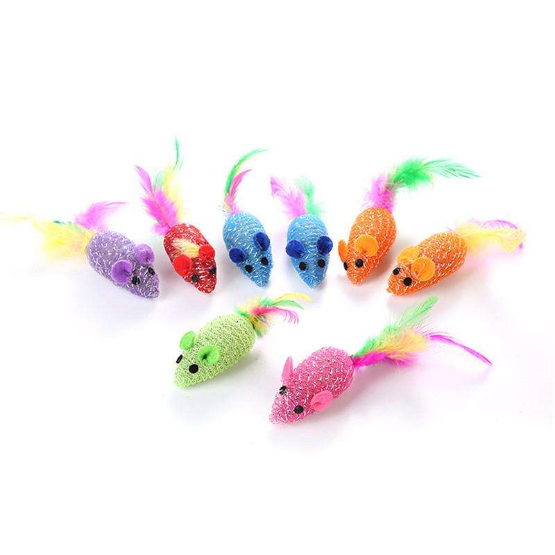 Pet Supplies Cat Toys New Candy color line Tube Mouse with Multicolored Feathers Cat Toy 300pcs T1I1938