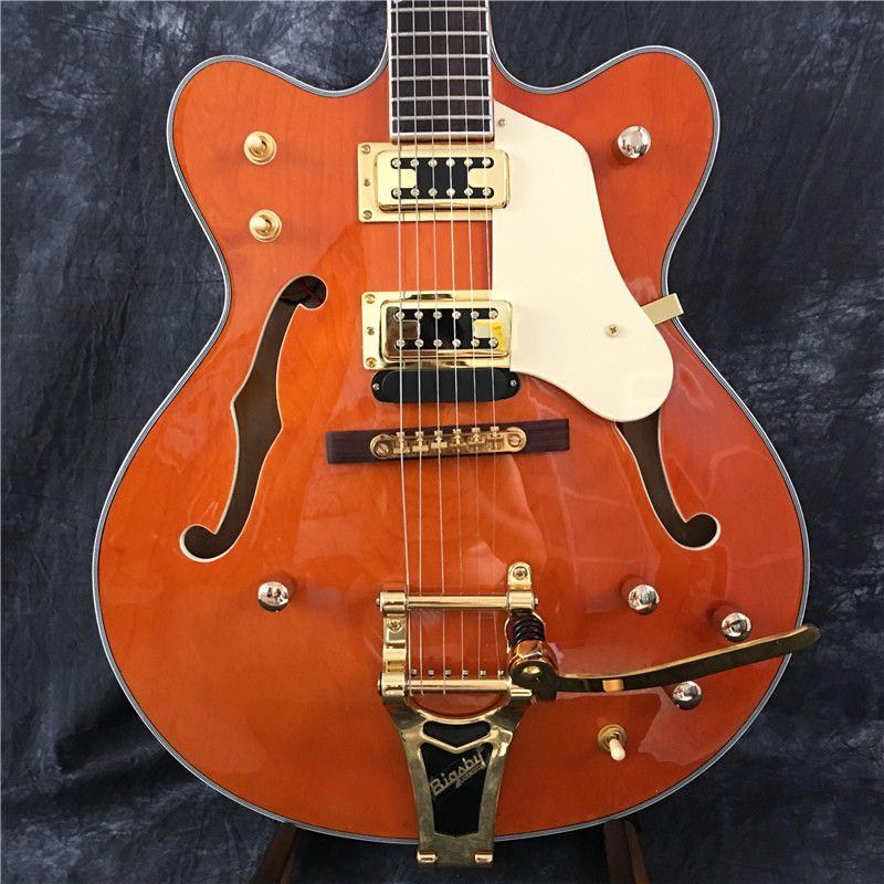 Nuova chitarra elettrica, chitarra elettrica di jazz, chitarra jazz vuota giallo, vera foto chitarra! pezzi d'oro, concedono