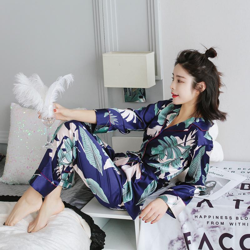Margarita pijamas mujeres 2020 nueva primavera caída punto pijamas pijamas seda sintiéndola ropa de dormir pijamas para mujeres pijama feminino pijama