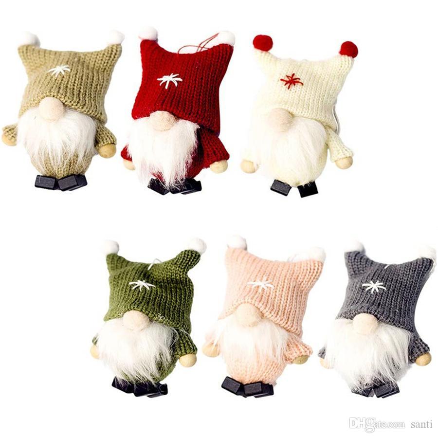 Weihnachten Anhänger schwedische Weihnachts Wolle Netter Gnome-Puppe Weihnachten Puppe Anhänger Kreative Weihnachtsbaum-Dekoration Navidad Stofftier JK1910
