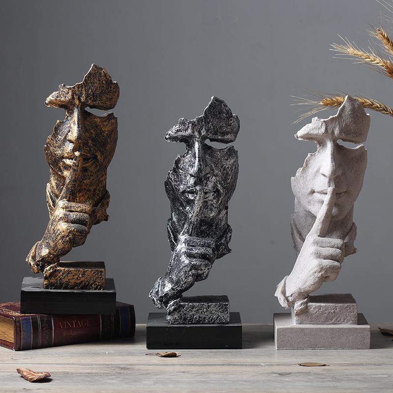 Color : A WJF Esculturas Decorativos El Silencio Es Oro Creativo Moderno Decoraci/ón para El Hogar Sala De Estar Vino Gabinete Oficina