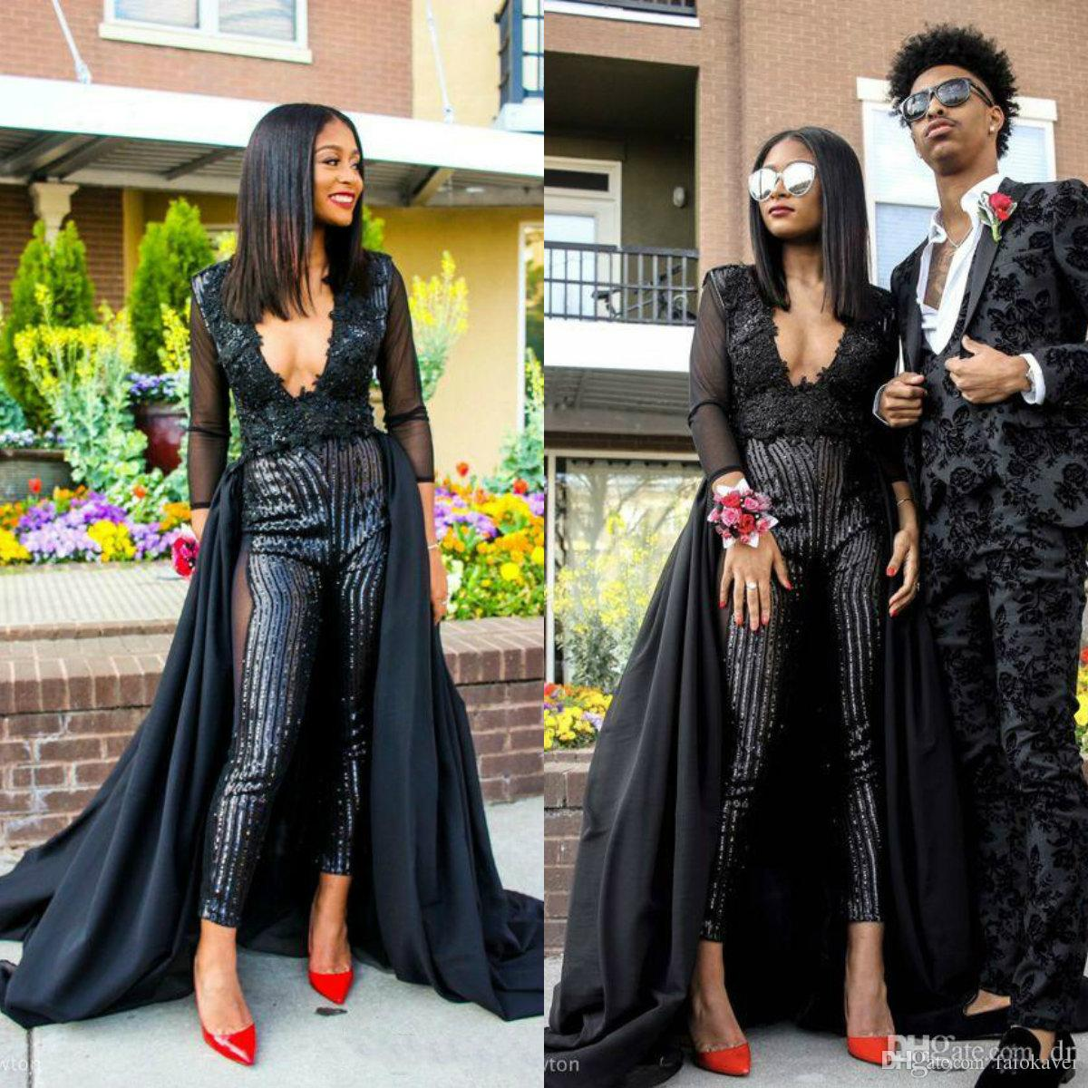 Black Women Jumpsuit With Long Train Evening Dresses Deep V Neck Appliques Sequins Prom Dress Party Zuhair Murad Dress Vestidos Festa Long