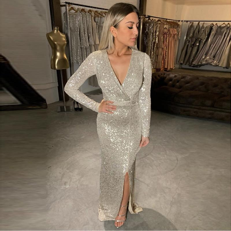 Silver Sequined Maxi Dress Black Burgundy Green V Neck Evening Party Wrap Dress Stretchy Full Sleeved Long Lining Low Slit Leg CX200525