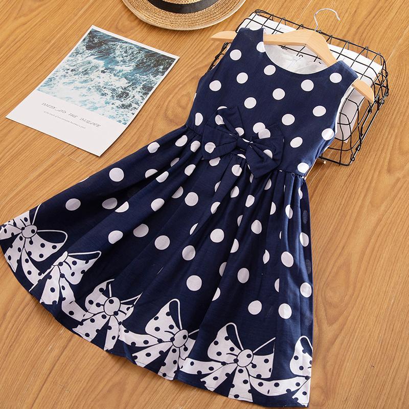 A-Line Yaz Çocuklar Kızlar Için Elbiseler Kolsuz Bebek Kız Polka Dots Casual Okul Giyim Çocuk Giyim Çiçek Kız Giysileri