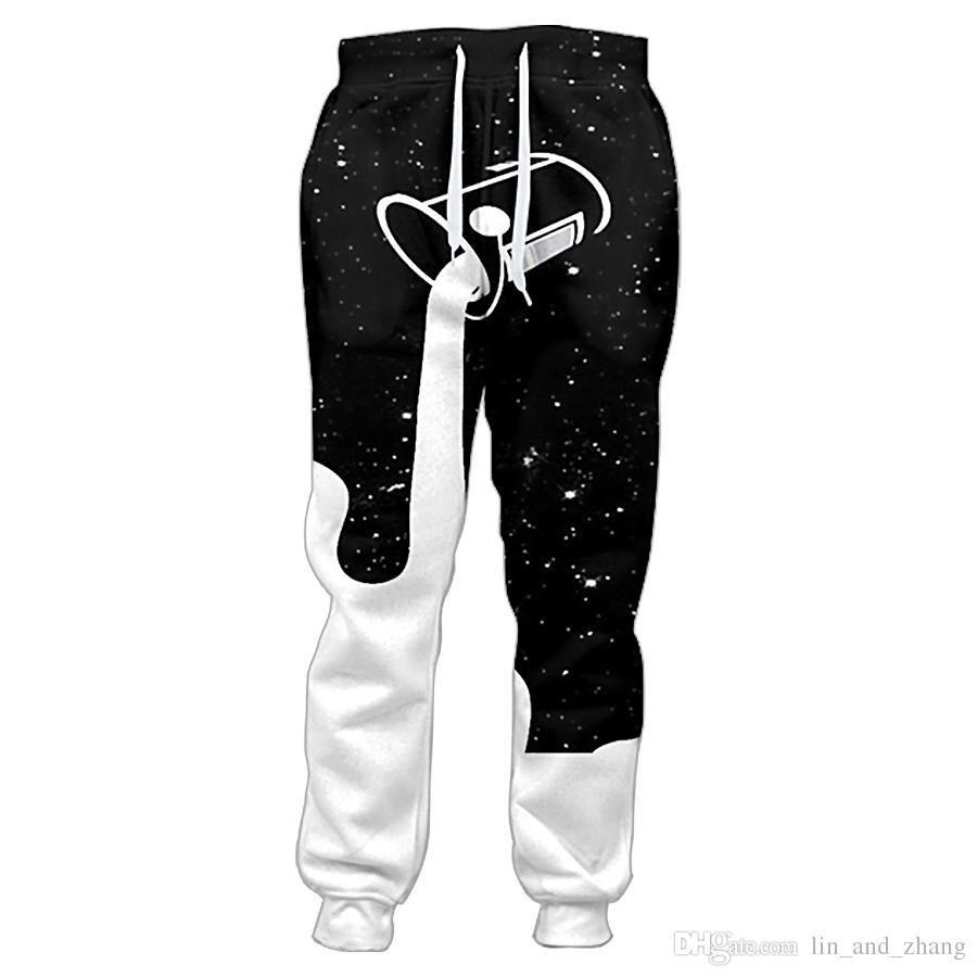 Compre Joggers Nueva Pantalones De Los Hombres De Colada Cielo En La Noche Estrellada Para Llenar El Vaso De Leche Galaxy De Impresion En 3d Pantalon Pantalones Ocasionales A 17 5 Del