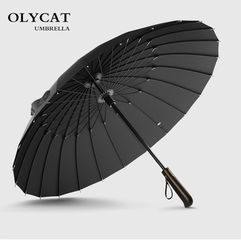 Vendita calda Marca Ombrello da uomo Qualità 24 k Forte antivento Telaio in fibra di vetro Manico lungo in legno Ombrello da donna Parapluie T8190619