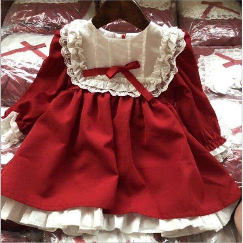 РЕБЁНОК красного платья с длинным рукавом кружево старинных ретро малышами платье для девочек одежды Рождество принцессы детской одежды осень T191212