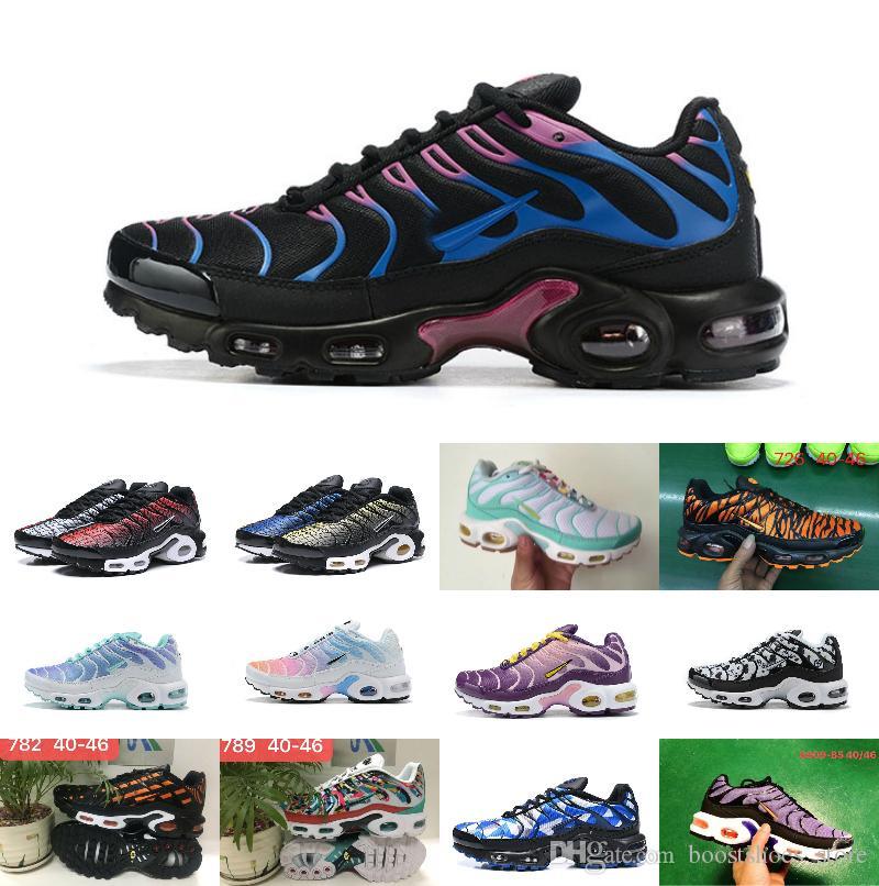 2019 Wholesale New Original Tn Shoes New Designs Fashion Men Women Breathable Mesh Air Tn Plus Chaussures Requin Sports Trainers Shoes 36-46