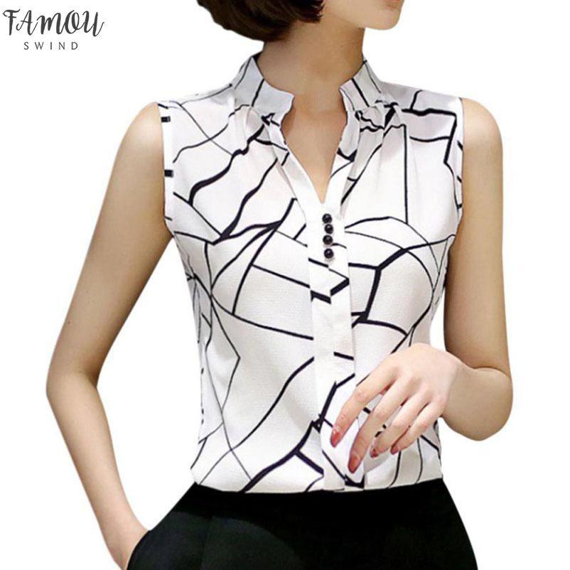 2020 mujeres blusa Tops gasa Casual sin mangas V cuello moda mujer camisa impresión Blusas señoras Blusas blanco verano primavera