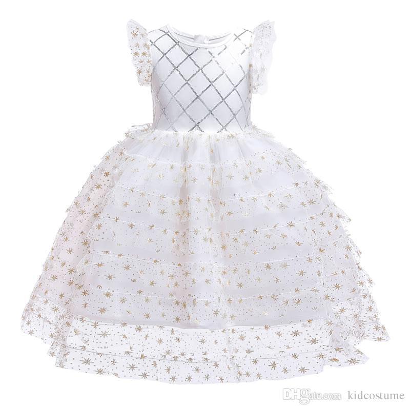 Ins Capodanno neonata merletto del TUTU abiti di Natale Kid di promenade della damigella d'onore Cerimonia di nozze sera Frock bambini Vestito di paillette dei vestiti