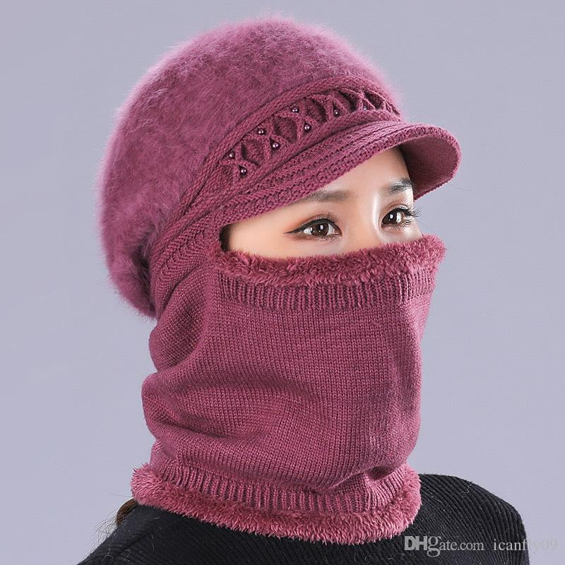 Women in winter with cashmere scarf knit hat rabbit hair warm versatile cycling middle-aged and elderly woollen hat
