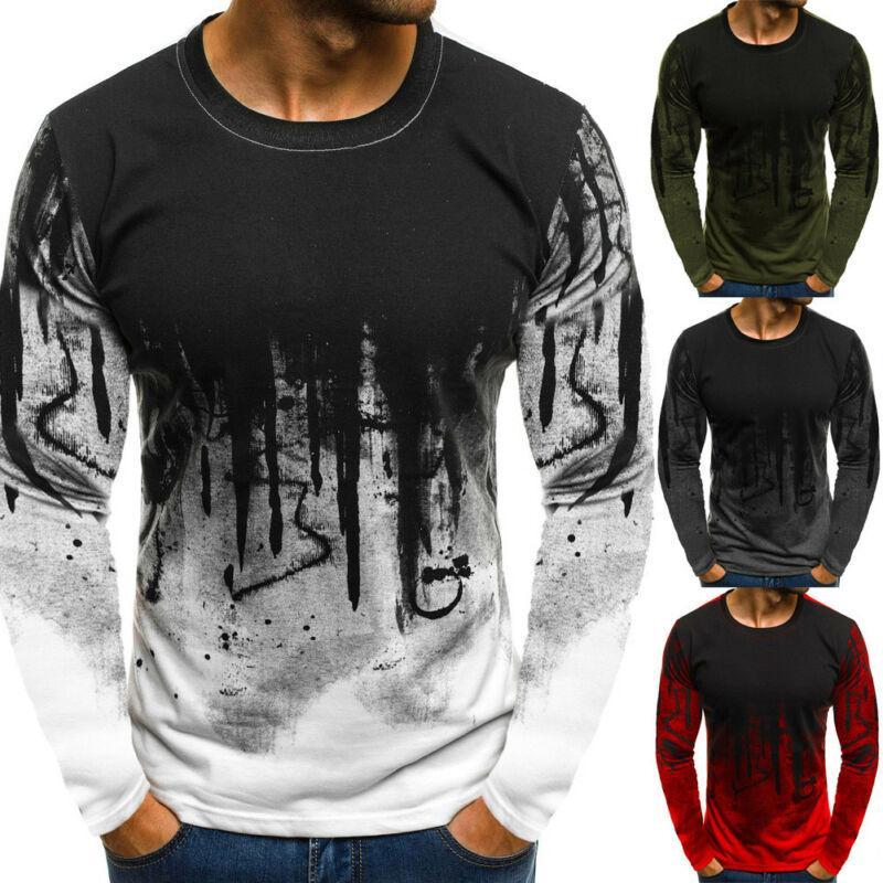 Mode Männer Slim Fit lange Hülsen-dünne T-Shirts Outdoor Sport Top T-Shirt beiläufiges T-Shirt Tops Pullover