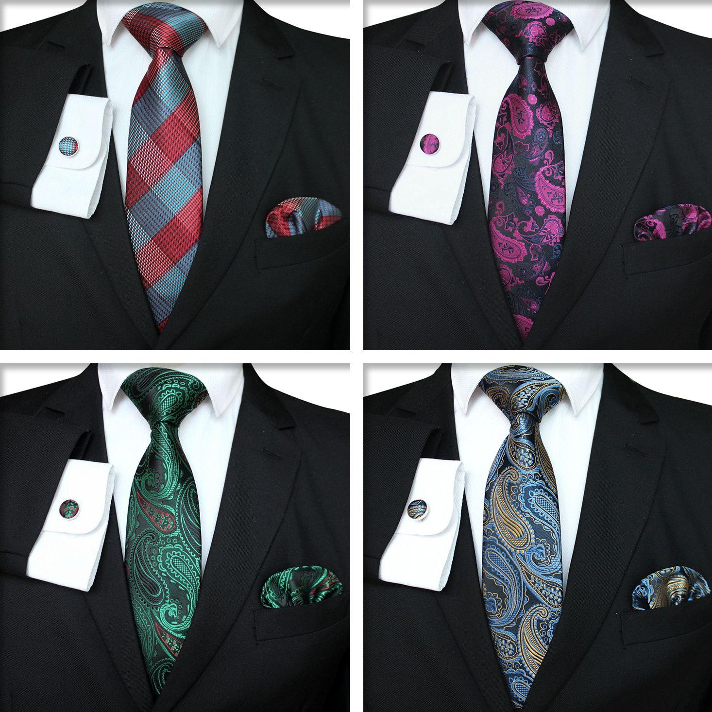 Plaid Series Tie Set Mode Herren klassische Silk Hanky Cufflinks Jacquard Woven Krawatte Männer Business Tie Set TTA-1116