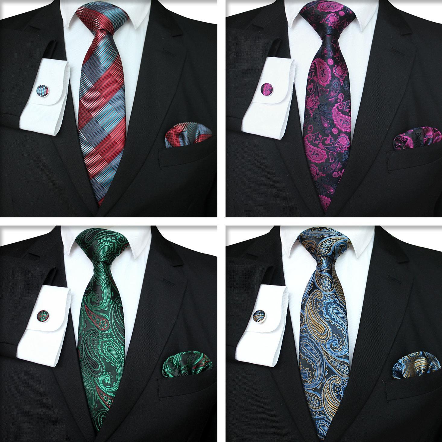 منقوشة سلسلة التعادل مجموعة أزياء الرجال الكلاسيكية الحرير المنديل أزرار أكمام جاكار نسج ربطة العنق للرجال الأعمال التعادل مجموعة TTA-1116