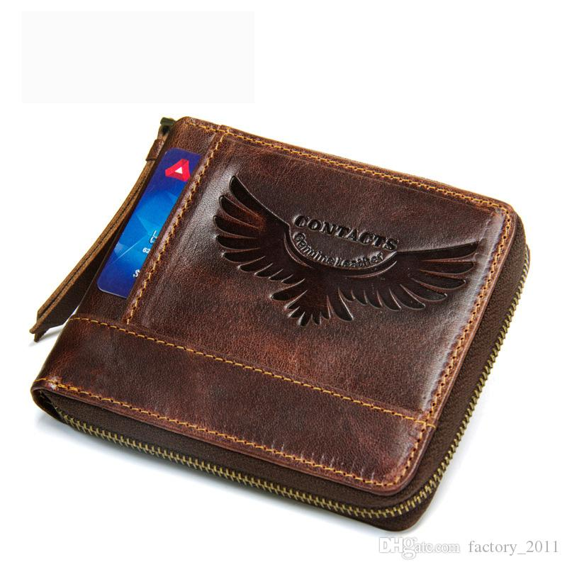 소 가죽 남성 지갑 빈티지 동전 포켓 새로운 디자인 패션 스타일 남자 지갑 지퍼 남성 가방 짧은 남성 작은 지갑 M2158