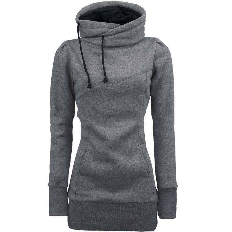 Women Hoodies Casual Korean Style Black Plus Size Straight Hooded Solid Spring High Street Female Fashion Winter Sweatshirts