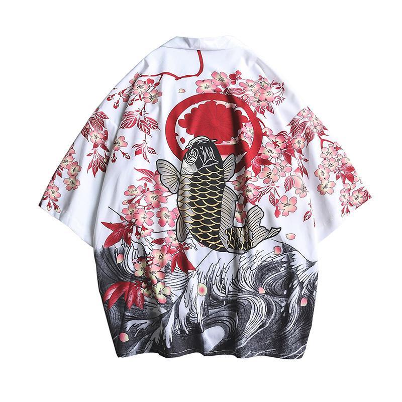 Compre 4352 Camisa Kimono Para Hombre De Verano Tallas Grandes Kimono Japones Cardigan Patrones De Puntada Abierta Fish Crane Imprimir Harajuku Hombres Ropa Y19050703 A 13 2 Del Qiyue04 Dhgate Com