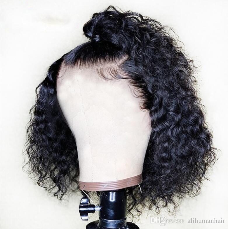 PAFF Pixie de Atajo Bob pelucas rizadas con el frente del cordón de la peluca brasileña del cordón del bebé por completo de pelo peluca del pelo humano de Remy de la Mujer