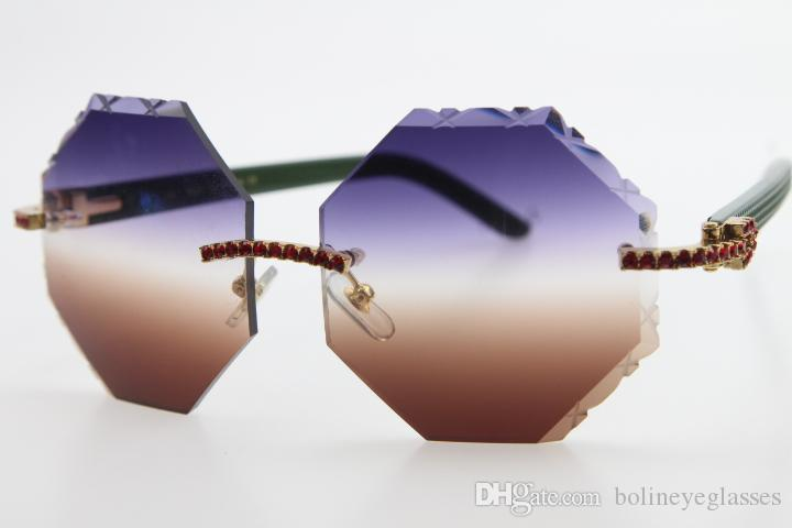 Hot senza orlo occhio di gatto Unisex Pietra Verde Plank Occhiali intagliato Lens Red Diamond Verde Arms 4189706 occhiali da sole di nuovo modo di occhiali classici