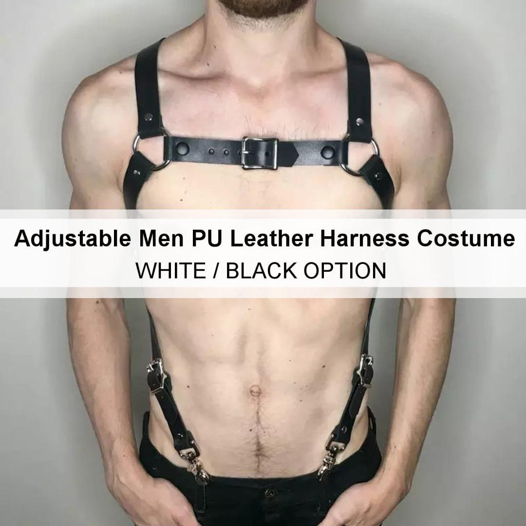Adjustable Men PU Leather Harness Dancewear Body Bondage Strap Party Costume Kit