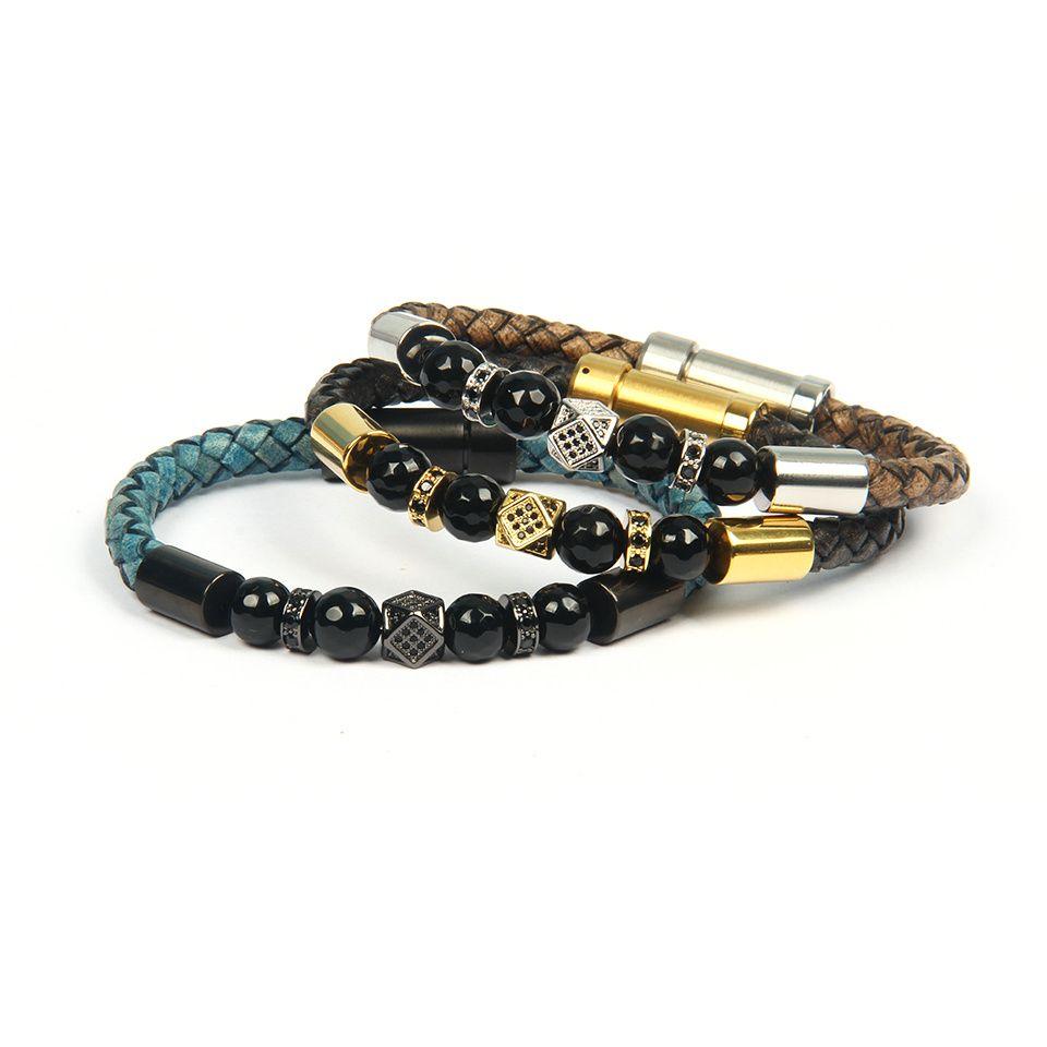 Jewelry Men Irregular Geometric Faced CZ Rivet Bracelets Stainless Steel Clasp Cowhide Leather Bracelet For Women