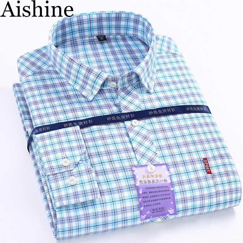 Wholesale- 2016 Autumn Winter New Men's Dress Shirt Mens Long Sleeve Plaid Shirt Mens High Quality Cotton Casual Shirt Hommes Camisa AZ99