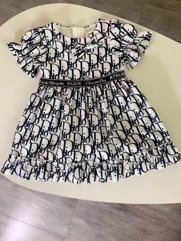 2020 с коротким рукавом рябить летние девушки платье Принцесса девушки одежда