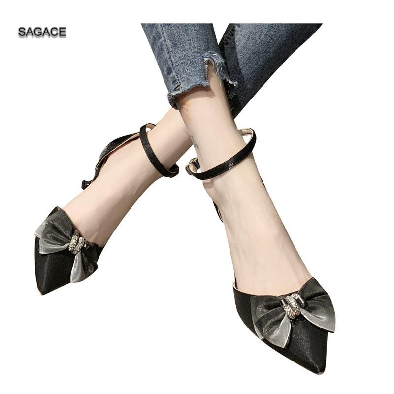 SAGACE Women Button Shoes Bowknot High Heel Tip Fine-Heeled Sandals Fashion Female Slides Summer Shoes Sandalias Mujer 2020