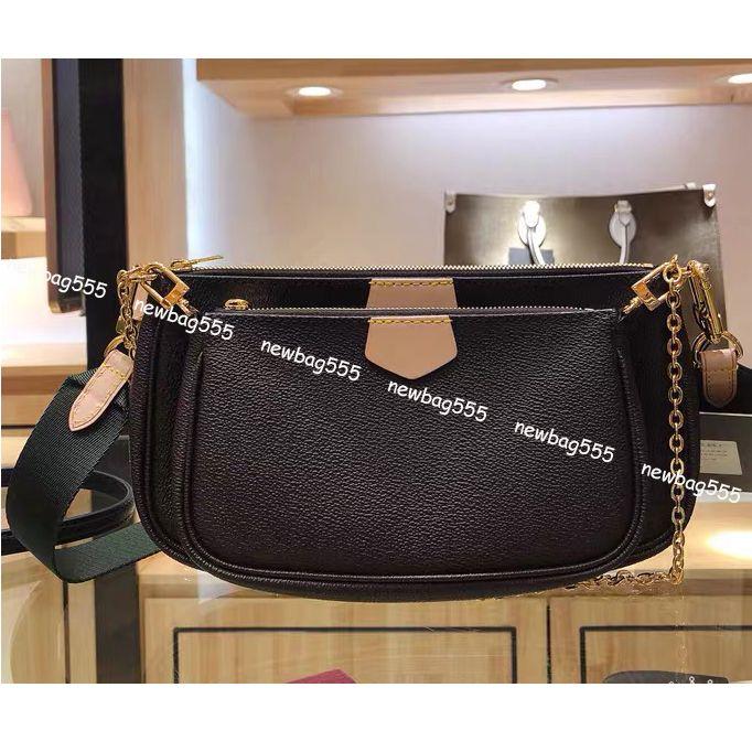 Les nouvelles femmes de mode sac à bandoulière sacs multi accessoires pochette en cuir véritable bracelet de couleur sacs à bandoulière chaîne 3 sacs à main de tous les ensembles de match