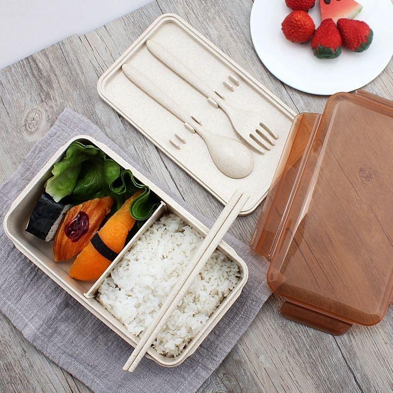 960Ml Taşınabilir Sağlıklı Malzeme yemek kutusu Buğday Straw Bento Kutular Mikrodalga Sofra Gıda Saklama kabı Foodbox