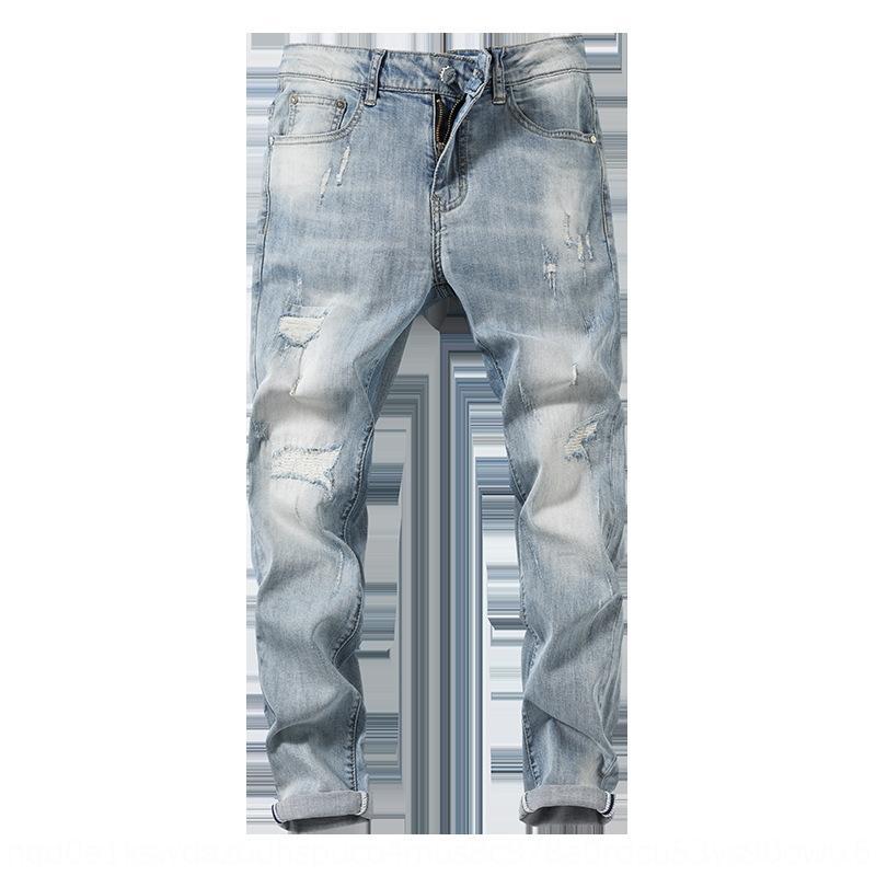 De estilo europeu, de cor clara moda rasgado dMykc moda jeans e tornozelo dos homens yRBx3 rasgado moda all-corresponder confortável jea trecho slim-fit