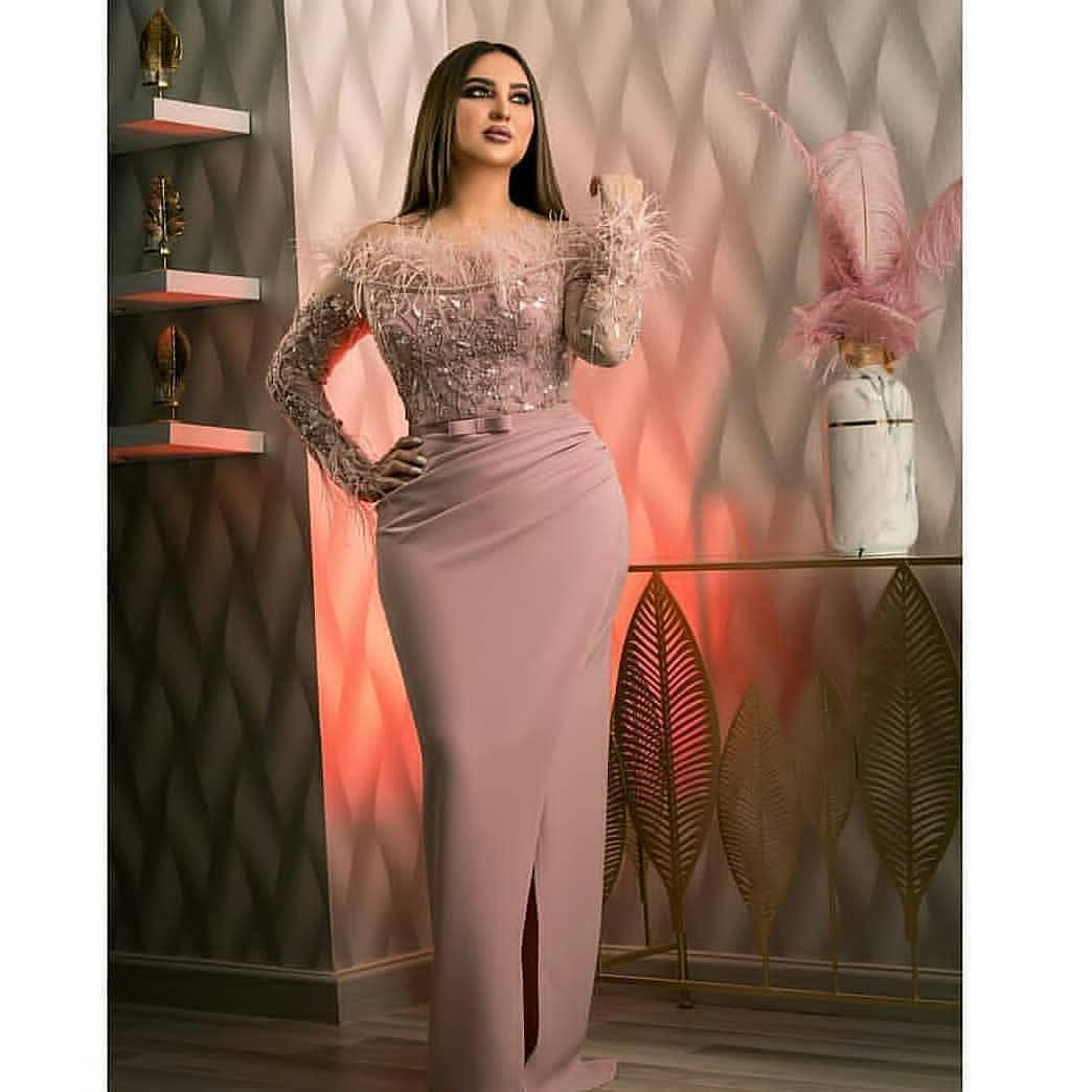 Aso Ebi 2020 Árabe Blush Rosa Sexy Vestidos Lace frisada Prom Dresses Bainha formal do partido Segundo Recepção Vestidos ZJ513