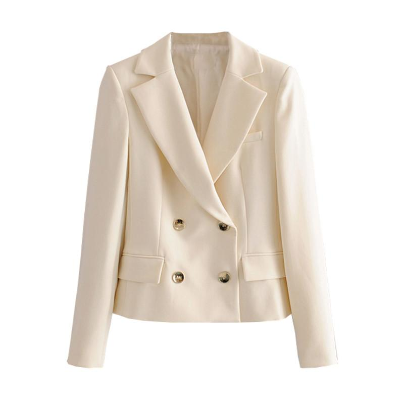 Двубортный Женский Короткий Блейзер Пальто Осень Повседневная Офисная Женская Верхняя Одежда Блейзер Уличная Женская Твердая Куртка Пальто 2020