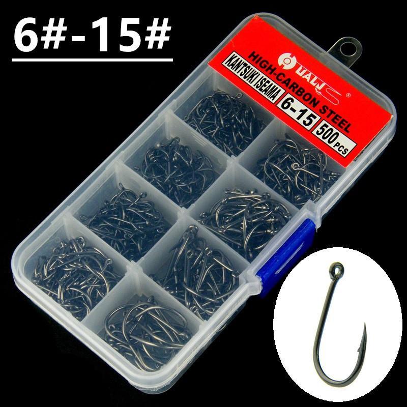 500pcs / 1box 6 # -15 # Nero Ise Hook alto tenore di carbonio spinato pesca Ganci ami Pesca Pesca Tackle Accessori U-1