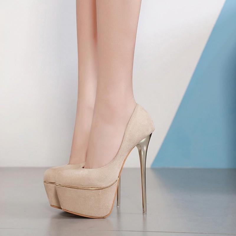 Current2019 dia! Bons sapatos de salto alto 16 centímetros Evening Mostrar Waterproof Platform Belas Com Ocupação Preto menina All-jogo Peixe Boca