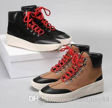 2019 Fear of god Military Sneakers Hombres Zapatos de diseño Botas Otoño Invierno Botas de ejército al aire libre Hight Botas para hombre 38-46