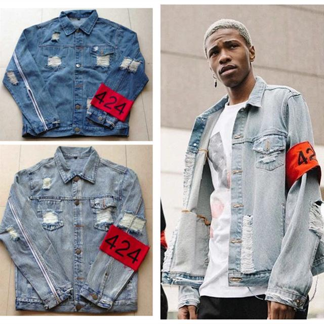 hiphop men's clothes brand clothing Four Two Four 424 spring summer broken hole jeans designer ripped denim jacket
