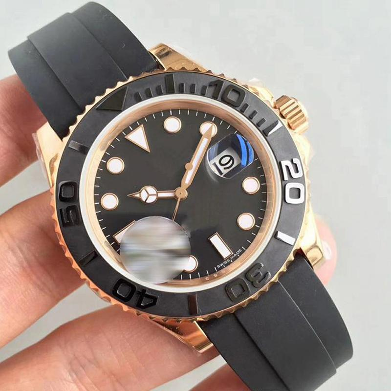 U1 공장 남성용 시계 자동 날짜 사파이어 유리 남성 손목 시계 기계 자동 이동 로즈 골드 베젤 고무 스트랩 스포츠 시계
