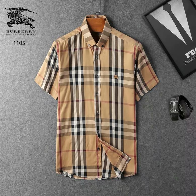 impresión de tartán diseñador de la camisa de solapa niño vestido de manga corta de los hombres de verano con abotonada camisa informal FGSD1