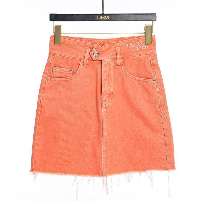 93RJw gi4rF cor sólida bordado denim saia 2020 jovem coreano bonito saia estilo das mulheres Verão laranja Slimming all-jogo Aline Vestido dre